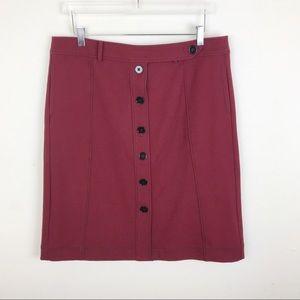 Ann Taylor Loft Maroon Burgundy Button Skirt 14